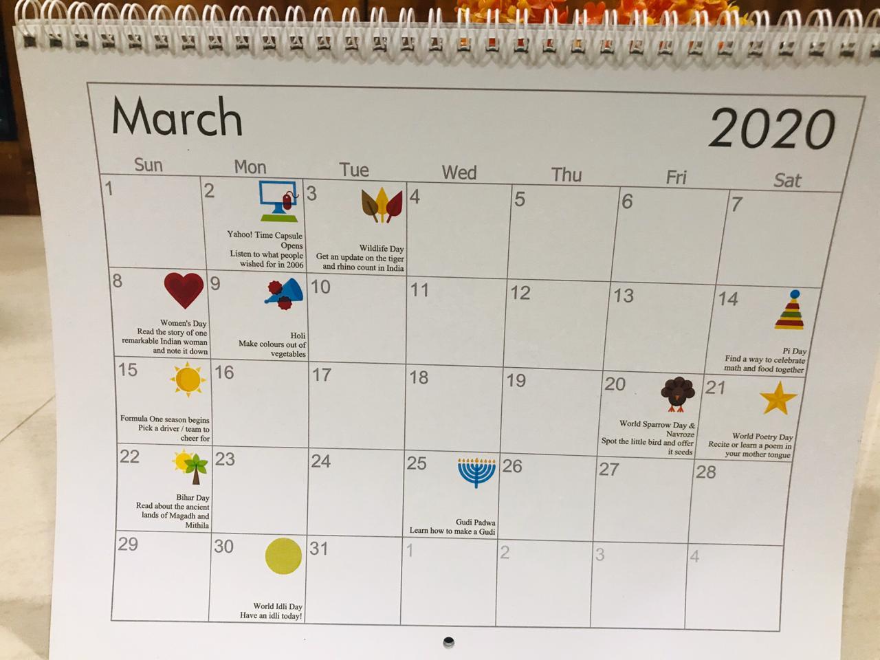 Colours of India- Kids Activity Calendar 2020
