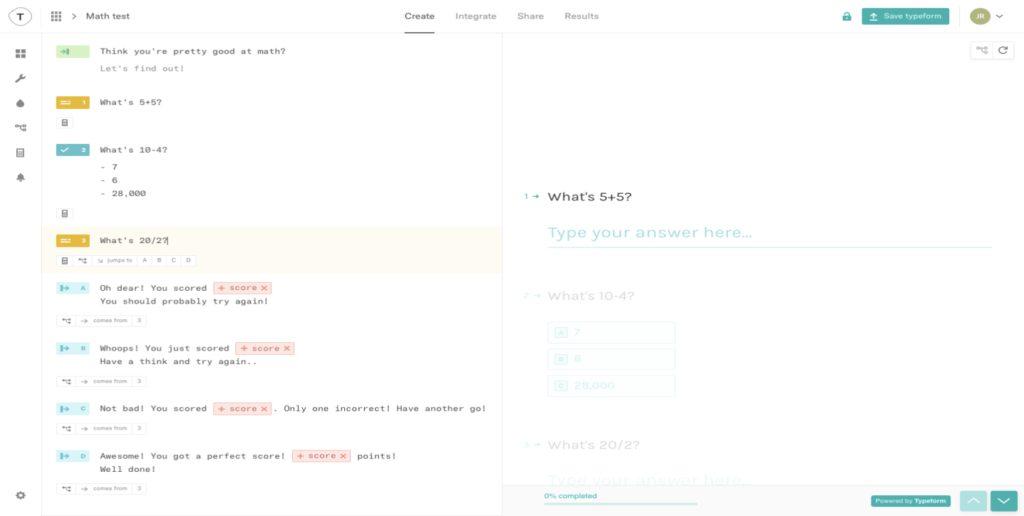Typeform Online Test maker tool