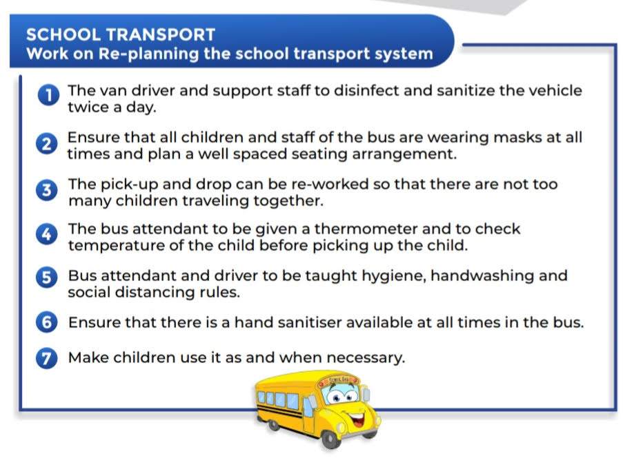 Guidelines for school transportation during Covid-19