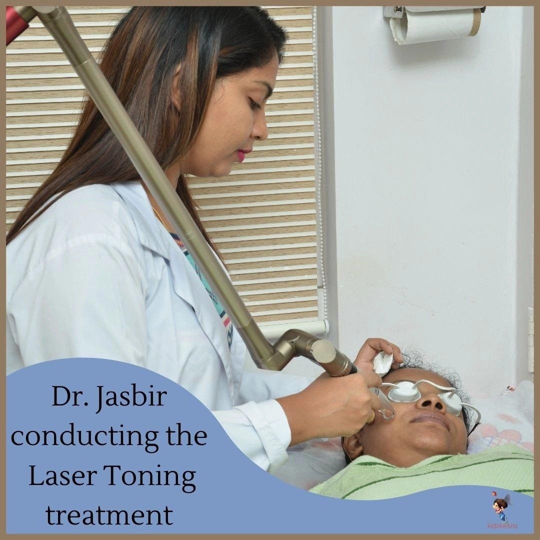 Jasbirkaur Patel at work on treating skin conditions